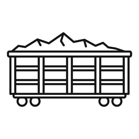 Coal train wagon icon, outline style