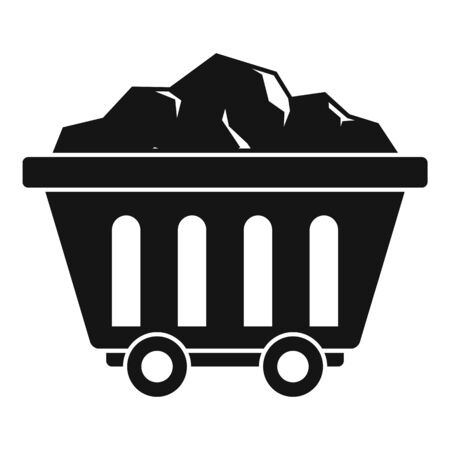 Mine coal wagon icon, simple style