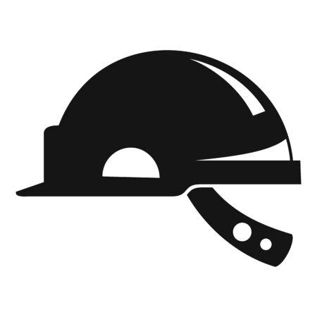 Mine worker helmet icon, simple style