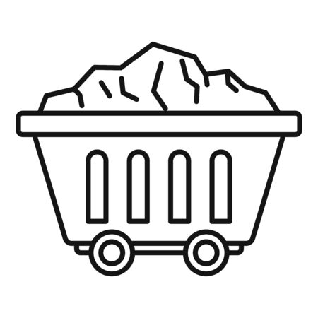 Mine coal wagon icon, outline style
