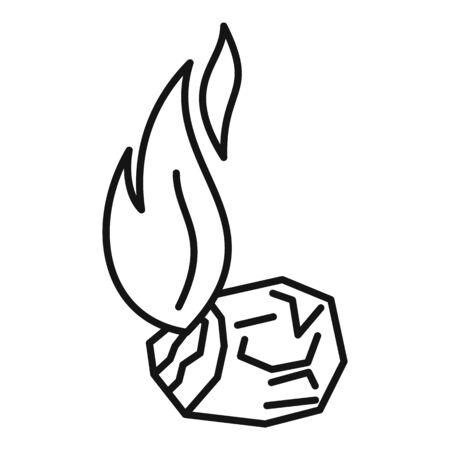 Burning coal icon, outline style