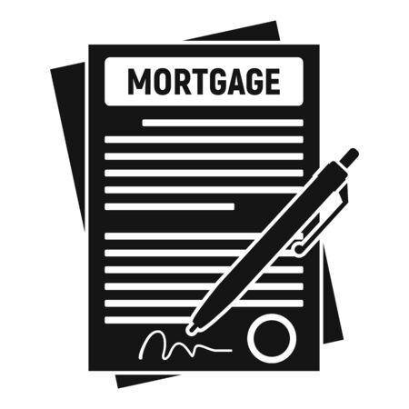 Mortgage contract paper icon, simple style Illustration