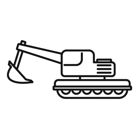 Coal excavator icon, outline style  イラスト・ベクター素材