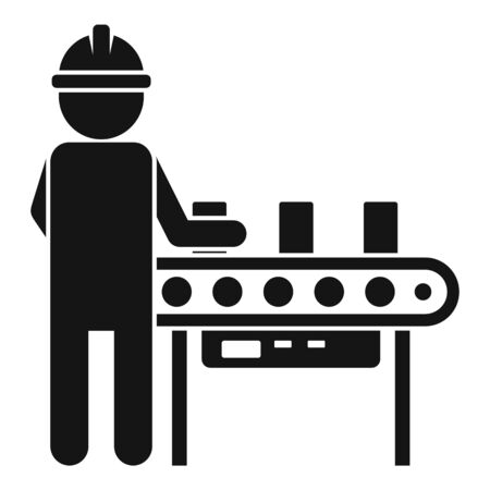 Man assembly line icon, simple style