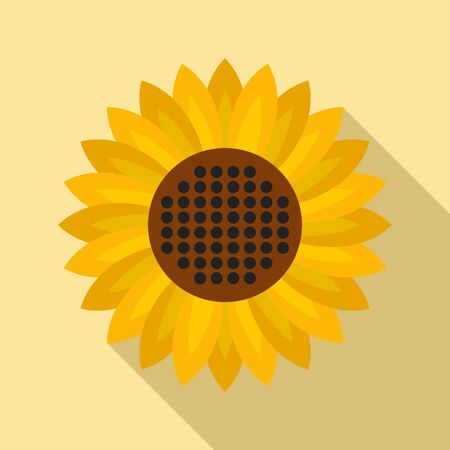 Helianthus flower icon, flat style Stock Illustratie