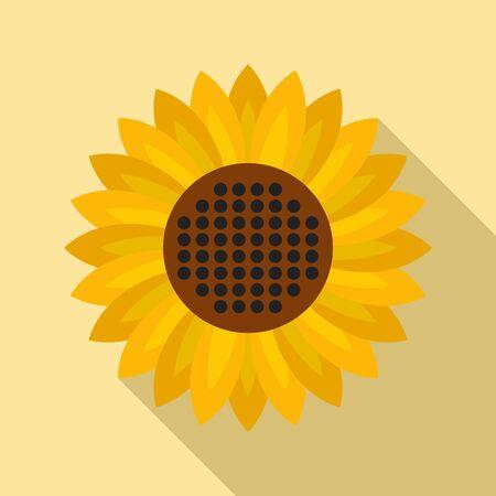 Helianthus flower icon, flat style Illustration