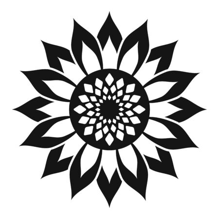 Helianthus flower icon, simple style