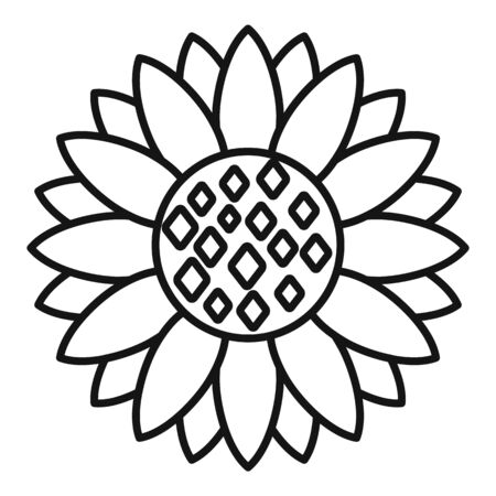 Seed sunflower icon, outline style