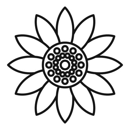 Helianthus flower icon, outline style
