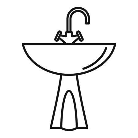 Washbasin icon, outline style Illustration