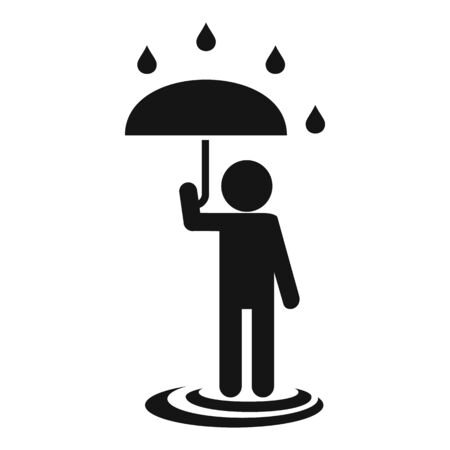 Man umbrella under rain icon, simple style Illustration