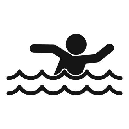 Man walking flood icon, simple style