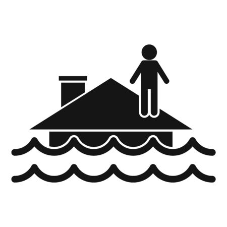 Flood roof house icon, simple style