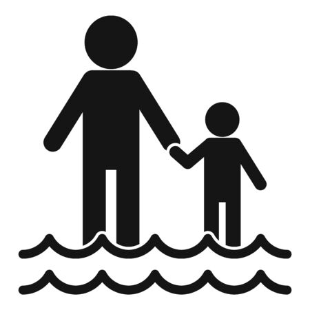 Family after flood icon, simple style