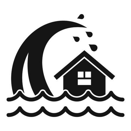 Tsunami wave icon, simple style Illustration