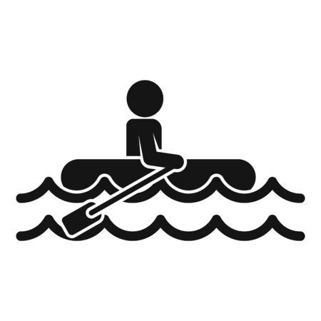 Man boat flood icon, simple style