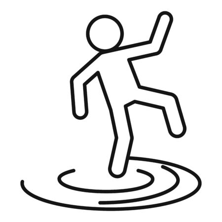 Man flood icon, outline style Illustration
