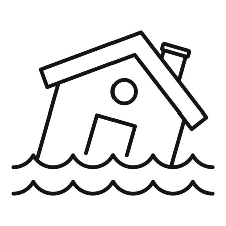 Flood destroy house icon, outline style Stock Illustratie