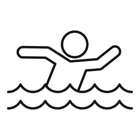 Man walking flood icon, outline style