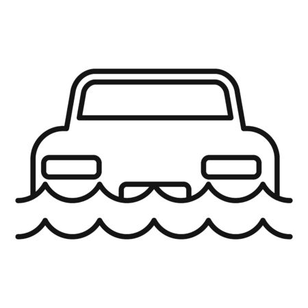 Car flood water icon, outline style Ilustrace