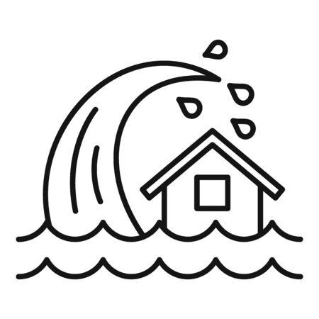 Tsunami wave icon, outline style Stock Vector - 131055276