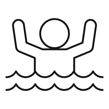 Man flood water icon, outline style Illustration