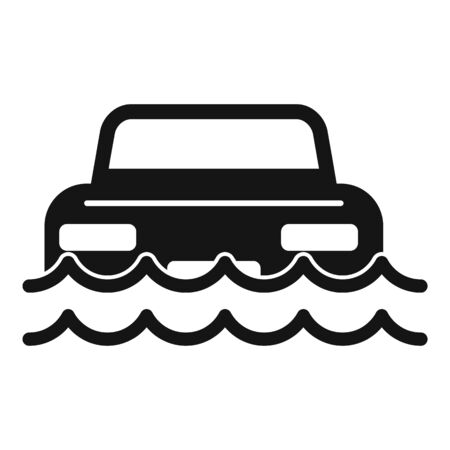Car flood water icon, simple style