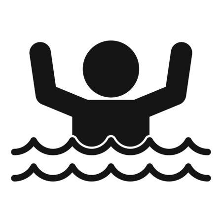 Man flood water icon, simple style Illustration