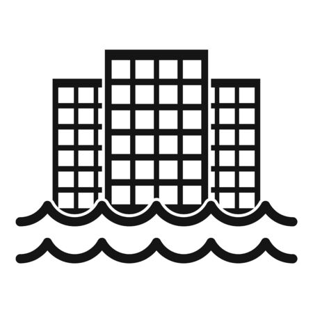 City flood icon, simple style