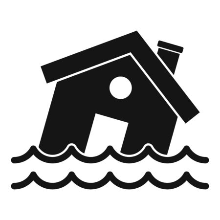 Flood destroy house icon, simple style