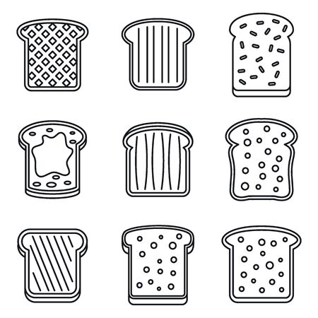 Toast butter icons set. Outline set of toast butter vector icons for web design isolated on white background Vettoriali