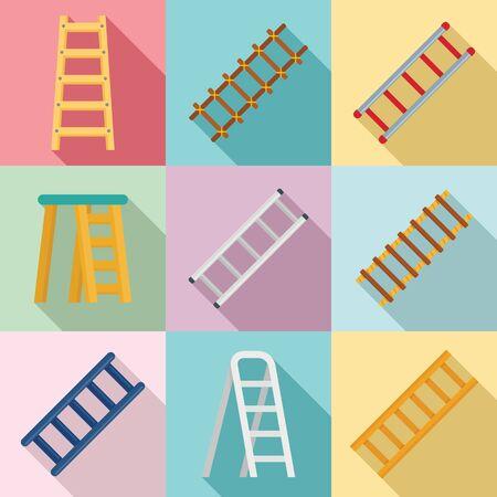 Ladder icons set, flat style