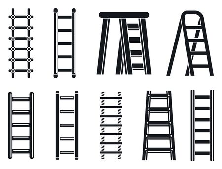 Wood ladder icons set. Simple set of wood ladder vector icons for web design on white background
