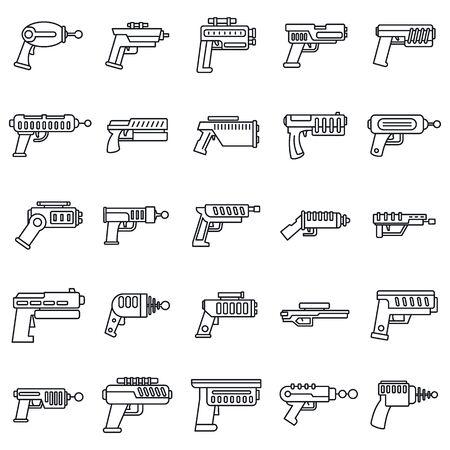 Blaster shotgun icons set, outline style