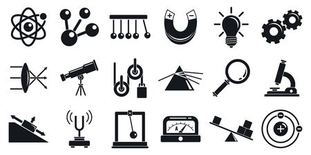 Physics icons set, simple style Illustration