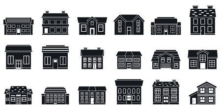 City cottage icons set, simple style