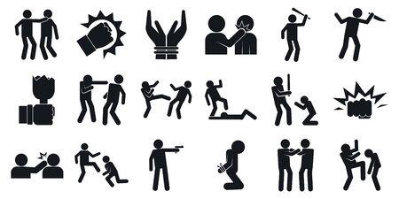 Jeu d'icônes de violence, style simple Vecteurs