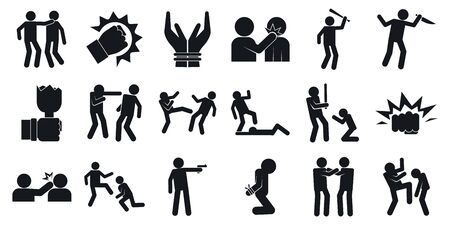 Violence icons set, simple style