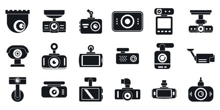 DVR camera icons set, simple style