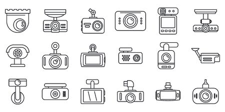 Digital DVR icons set, outline style