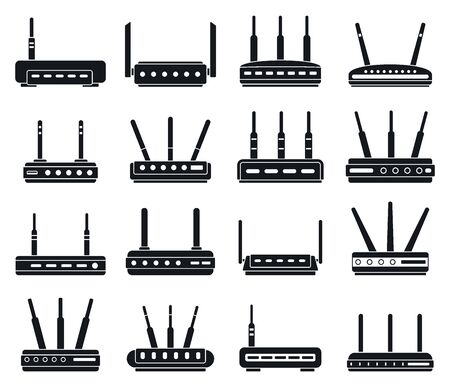 Router wireless icons set, simple style