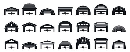 Hangar icons set, simple style