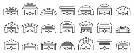Airport hangar icons set, outline style