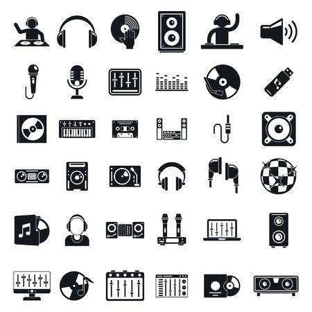 Dj icons set, simple style