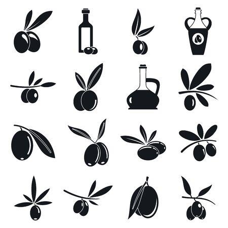 Olive Icons Set, einfacher Stil