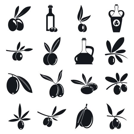 Olive icons set, simple style
