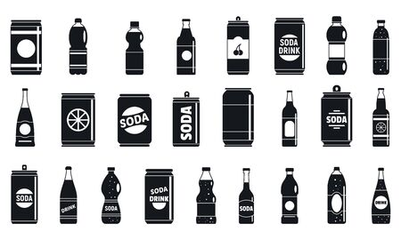 Soda drink icons set, simple style
