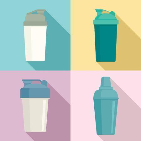 Shaker icons set, flat style