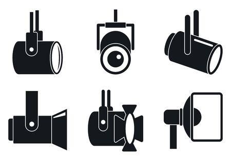 Spotlight icons set, simple style Illustration