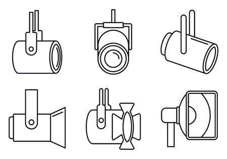 Spotlight lamp icons set, outline style